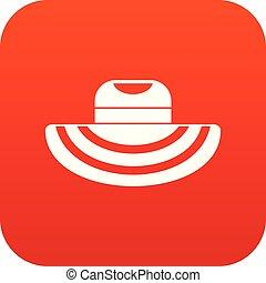 plaża, cyfrowy, kobiety, kapelusz, czerwony, ikona