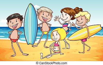 plaża, grupa, ludzie