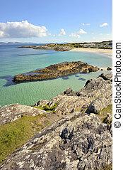 plaża, krajobraz, irlandia