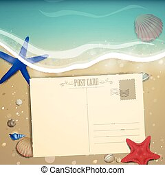 plaża, lato, wektor, projektować