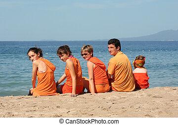 plaża, ludzie
