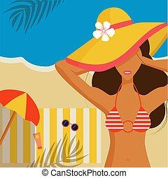 plaża, młody, bikini., dziewczyna, piękny