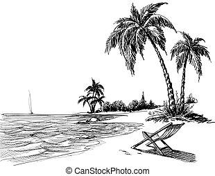 plaża, ołówek, lato, rysunek