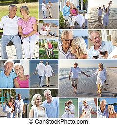 plaża, para, ludzie, szczęśliwy, styl życia, osamotnienie, senior