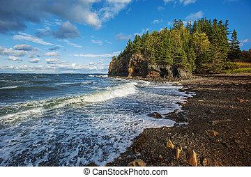 plaża, skalisty