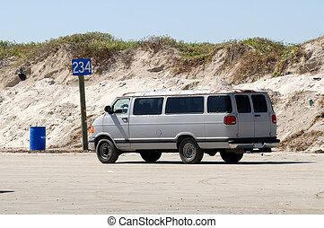plaża, stary, usa, napędowy, południowy, awangarda, texas