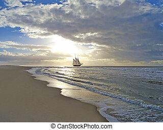 plaża, statek, zachód słońca, morze, nawigacja