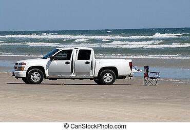 plaża, usa, południowy, pickup samochód, biały, texas