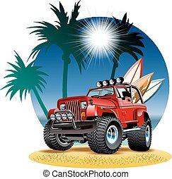 plaża, wóz, wektor, 4x4, rysunek