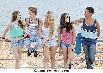 plaża, wiek dojrzewania, rozmaity, grupa