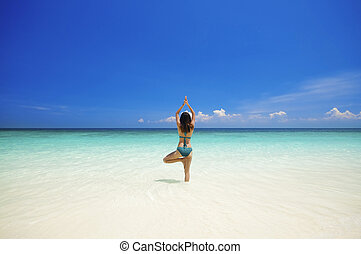 plaża, yoga
