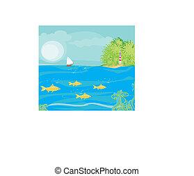 plaża, zobaczony, malutki, latarnia morska