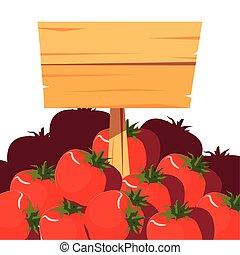 plakat, zagroda, drewniany, roślina, świeże pomidory