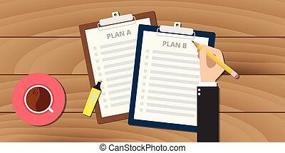 plan, clipboard, ilustracja, b