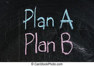 plan, deska, symbol, handlowy, czarnoskóry, alternatywa, planowanie, odizolowany, strategia, opcja, b