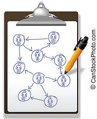 plan, diagram, ludzie handlowe, sieć, pióro, clipboard