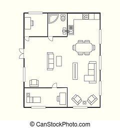 plan, dom, furniture., podłoga, plan architektury