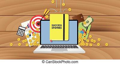 plan, handlowy, osiągnięcie, cele, historie, powodzenie, historia