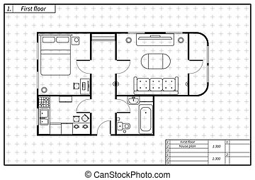 plan, rys, dom, styl, czarnoskóry, plan architektury, meble