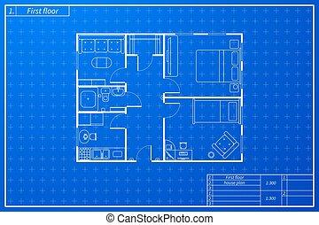 plan, rys, dom, styl, plan, architektura