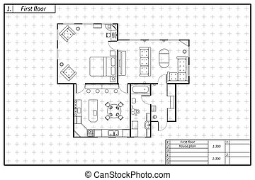 plan, styl, dom, czarnoskóry, architektura, biały, plan