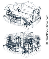 plan, wektor, house., architektura