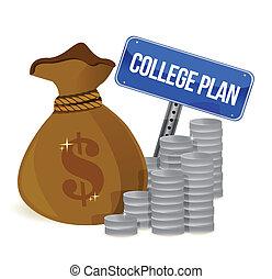 plan, znak, torby pieniędzy, kolegium