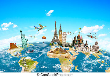 planeta, świat, sławny, pomniki, okoliczny, ziemia