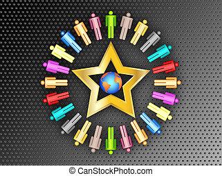 planeta, barwny, handlowy zaludniają