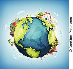 planeta, dom, ziemia, tło, natura