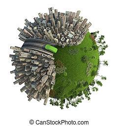planeta, energia, pojęcie, zielony, przewóz