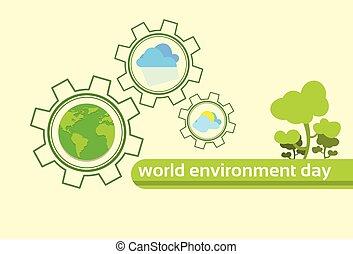 planeta, klimat, kula, drzewo, środowisko, zielona ziemia, świat, dzień