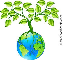 planeta, kula, ziemia, drzewo