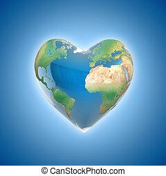 planeta, miłość, pojęcie, 3d