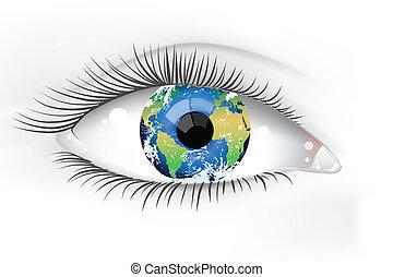 planeta, oko, ziemia, desaturated