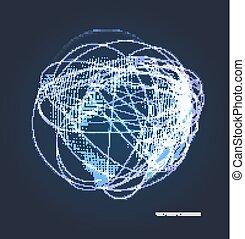 planeta, opanowany, abstrakcyjny, kropkuje