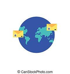 planeta, poczta, koperty, ziemia