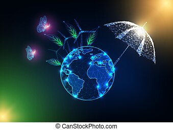 planeta, pojęcie, klimat zmiana, zielony, ecosystem., ziemia, ryczałt dogrzewający, bezpieczny, parasol
