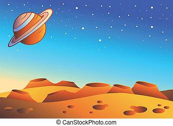 planeta, rysunek, krajobraz, czerwony