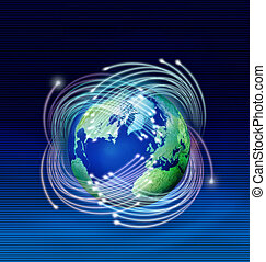 planeta, włókna, optyczny, dookoła, ziemia