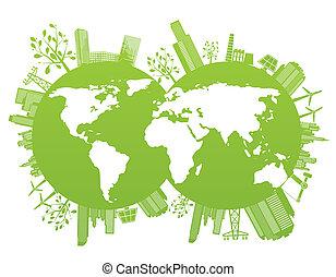 planeta, zielony, środowisko