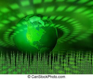 planeta, zielony, cyfrowy