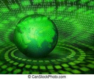 planeta, zielony, pixel, cyfrowy
