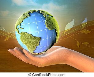 planetować ziemię, samica, dzierżawa ręka