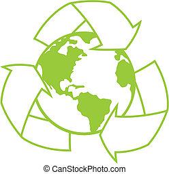 planetować ziemię, symbol, przerabianie surowców wtórnych