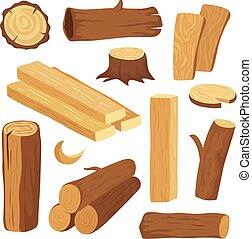 plank., drewno, timber., komplet, pniak, kloc, drewniany, drewno opałowe, odizolowany, materiały, logs., wektor, zbudowanie, pień, twarde drewn, rysunek