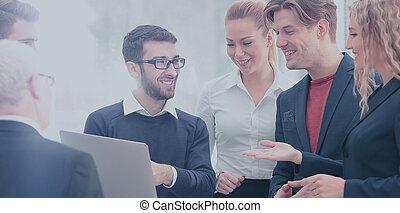 planowanie, handlowy, szczęśliwy, razem, praca zaprzęg