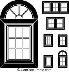 plastyk, okno, wektor, czarnoskóry, ikony