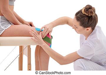plastyk, podręcznik, spełniony, kręgosłup, trening, pacjent, kinesio, terapia, fizykoterapeuta, physio, samica, techni