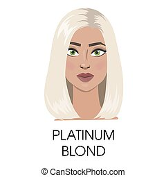 platyna, włosy, illustration., blond
